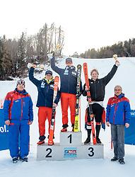 10.01.2018, Hochstein Ski Stadion, Lienz, AUT, FIS Ski Alpin, Serie Tirol, Riesen Slalom, Herren, Siegerehrung, im Bild v.l. Engelbert Nussbaumer (SC Lienz), Fabian Wilkens Solheim (NOR, 2. Platz), Patrick Haugen Veisten (NOR, 1. Platz), Simen Ramberg Christensen (NOR, 3. Platz), Werner Frömel (Ski Club Lienz) // f.l. Engelbert Nussbaumer (SC Lienz) second placed Fabian Wilkens Solheim of Norway, race winner Patrick Haugen Veisten of Norway, third placed Simen Ramberg Christensen of Norway, Werner Frömel (Ski Club Lienz) during the award ceremony for the men's giant slalom of FIS Ski Alpin Serie Tyrol at the Ski Stadium Hochstein in Lienz, Austria on 2018/01/10. EXPA Pictures © 2018, PhotoCredit: EXPA/ Johann Groder
