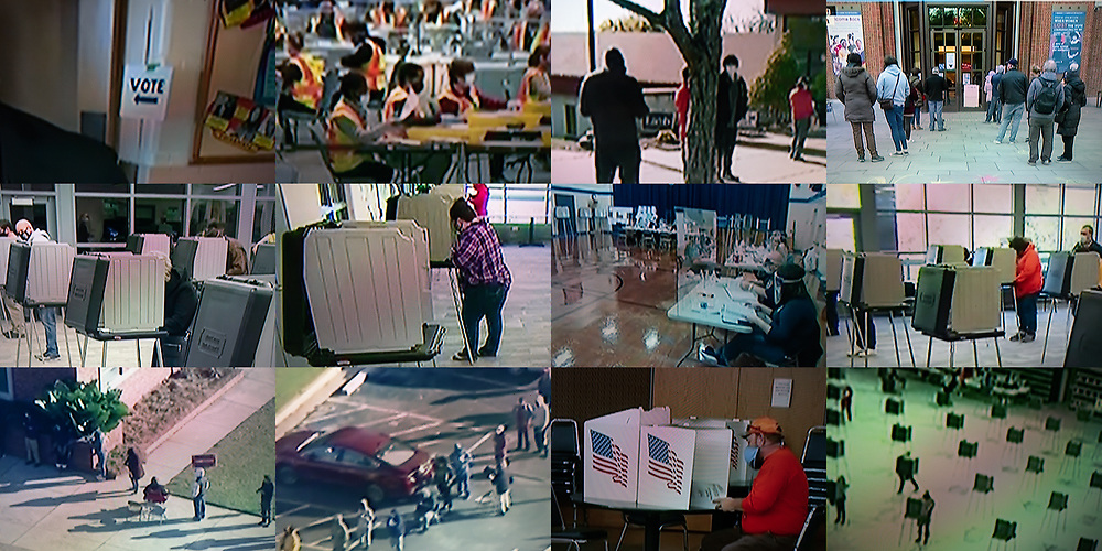 BELGIUM, Brussels. 4/11/2020: TPolling booths during the presidential elections in the USA as seen on television.