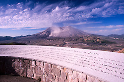 Johnston Ridge Memorial to Those Who Lost Their Lives in 1980 and Mt. St. Helens, Mt. St. Helens National Volcanic Monument, Washington, US