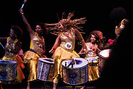 Some members of the drum band Dida (which in an African language means power of creation) closing concert of Maria Bethania to Farol da Barra