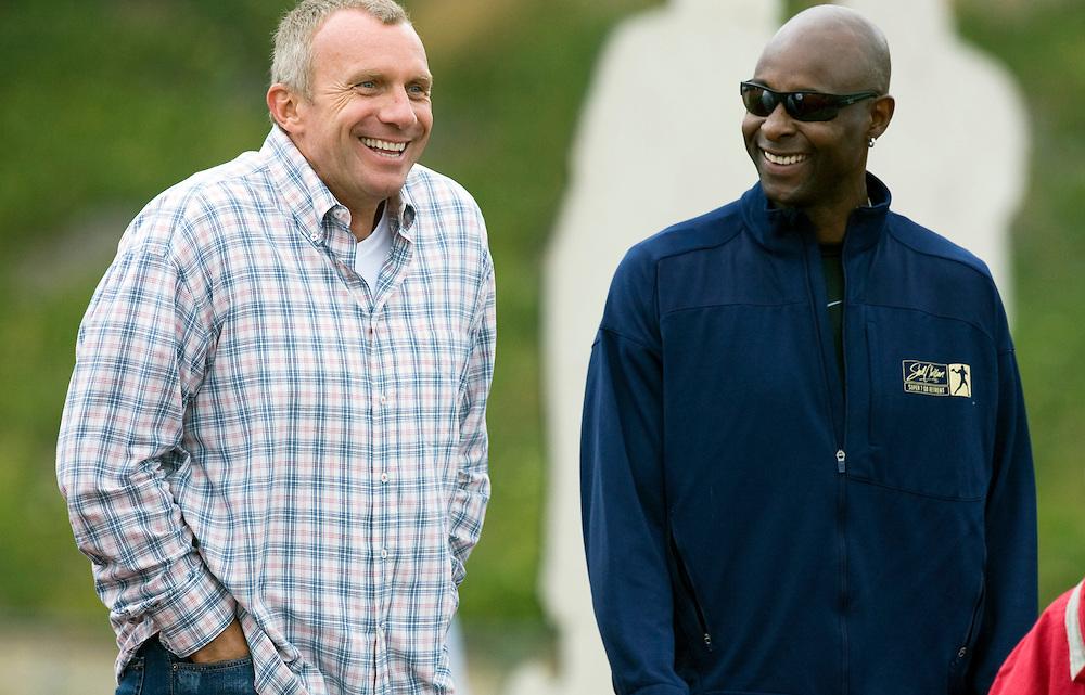 Joe Montana and Jerry Rice share a laugh at Steve Clarkson's Super 7 quarterback camp in Santa Barbara, California.