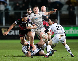 Dragons' Ashton Hewitt evades the tackle of Ospreys' Dan Evans<br /> <br /> Photographer Simon King/Replay Images<br /> <br /> Guinness Pro14 Round 12 - Dragons v Cardiff Blues - Sunday 31st December 2017 - Rodney Parade - Newport<br /> <br /> World Copyright © 2017 Replay Images. All rights reserved. info@replayimages.co.uk - http://replayimages.co.uk
