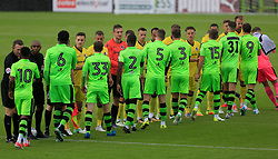 Players exchange handshakes prior to kick off - Mandatory by-line: Paul Roberts/JMP - 22/07/2017 - FOOTBALL - New Lawn Stadium - Nailsworth, England - Forest Green Rovers v Bristol Rovers - Pre-season friendly