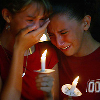 (POCEAN) Jackson Twp 8/23/2002   15 year olds Ashley Larsen and Angie Bobko cry during a playing of a song to memorialize the 3 Jackson teens killed in a recent car accident.   Michael J. Treola Staff Photographer......MJT
