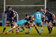 Warriors flanker Matt Kvesic tackles Sale Sharks Cobus Wiese during the Gallagher Premiership match Sale Sharks -V- Worcester Warriors at The AJ Bell Stadium, Greater Manchester,England United Kingdom, Friday, January 08, 2021. (Steve Flynn/Image of Sport)