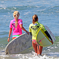 Ashley Quintal and Rachel Barry head out in the 3rd Annual Roxy Jam Cardiff Linda Benson Women's World Longboard Professional.
