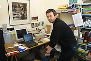 Bestselling crime writer Ian Rankin, pictured in his office at his home in Edinburgh...Pic © Colin McPherson, 19/12/01..Tel. +44 (0)1968 661644 or 07831 838717.