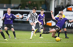 Dunfermline's Faissal El Bahktaoui scoring their third goal. <br /> Dunfermline 3 v 2 Ayr United, Scottish League One played at East End Park, 13/2/2016.