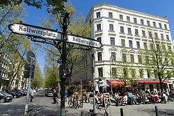 Afternoon view of restaurants and cafes  on Kollwitzplatz in Prenzlauer Berg in Berlin Germany