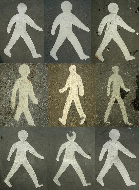 Nine painted pedestrian symbols. Montage of nine pedestrian symbols/road markings