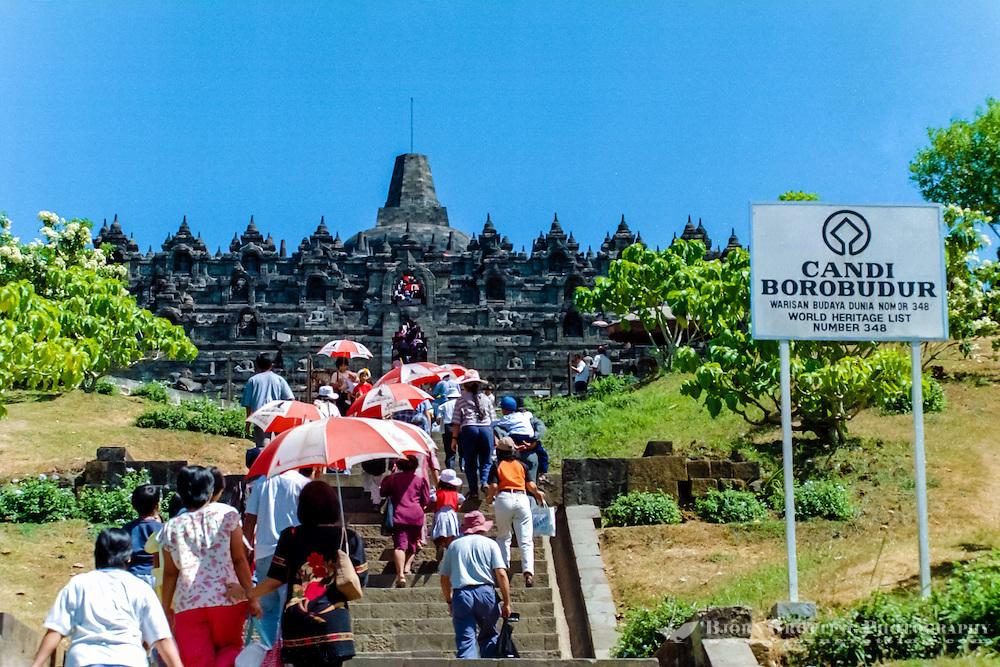 Java, Central Java, Borobodur. Borobudur is a 9th-century Buddhist monument near Magelang, Central Java. Borobodur is on the UNESCO World Heritage List.