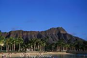 Waikiki Beach with<br /> Diamond Head in the background<br /> Oahu, Hawaii, USA ( Pacific )