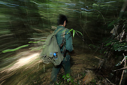 Forest Rangers that are organised with the assistance of WCS work in Nam Kading NPA, they work to stop animal poaching in the THPC watershed areas.<br />Bolikhamsay Province, Lao PDR