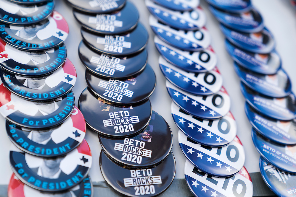 Promotional pins for Democratic 2020 presidential candidate Beto O'Rourke in Mount Pleasant, Iowa, U.S., March 15, 2019.  REUTERS/Ben Brewer