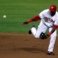 30 May 2007:   Washington Nationals shortstop Cristian Guzman (15) commits an error in the 6th inning on a ball hit by Los Angeles Dodgers second baseman Jeff Kent.  Kent later scored as the Dodgers defeated the Nationals 5-0 at RFK Stadium in Washington, D.C.  ****For Editorial Use Only****