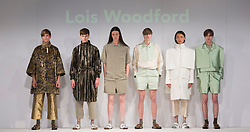 © Licensed to London News Pictures. 01/06/2015. London, UK. Collection by Lois Woodford. Fashion show of the University of Brighton at Graduate Fashion Week 2015. Graduate Fashion Week takes place from 30 May to 2 June 2015 at the Old Truman Brewery, Brick Lane. Photo credit : Bettina Strenske/LNP
