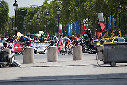 The first of the many breakaways during the La Course, a 89 km road race in Paris on July 24, 2016 in France.