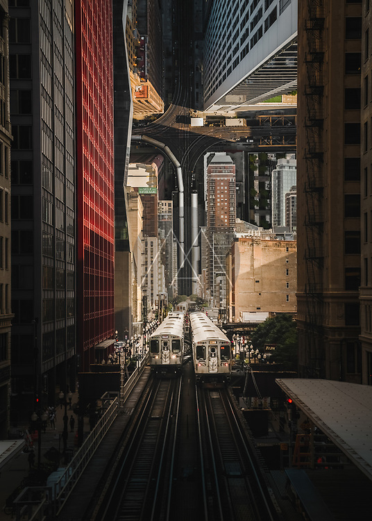 Aerial view of train station in Chicago in droneception style, Chicago, USA.