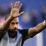 Thierry Henry, New York Red Bulls, salutes the fans after the New York Red Bulls V Philadelphia Union, Major League Soccer regular season match at Red Bull Arena, Harrison, New Jersey. USA. 30th March 2013. Photo Tim Clayton