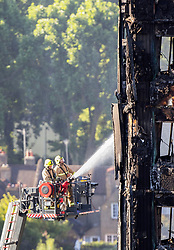 Water is sprayed on Grenfell Tower in west London after a fire engulfed the 24-storey building on Wednesday morning.