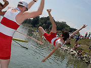 Ottensheim, AUSTRIA.  A  Final, M2+ CAN ames DUNAWAY and Gabriel BERGEN throw cox Mark LAIDLAW into the water after the madal ceremony, at the 2008 FISA Senior and Junior Rowing Championships,  Linz/Ottensheim. Sunday,  27/07/2008.  [Mandatory Credit: Peter SPURRIER, Intersport Images] Rowing Course: Linz/ Ottensheim, Austria