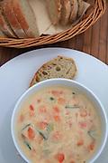 Fish soup served in Lofoten, Norway.
