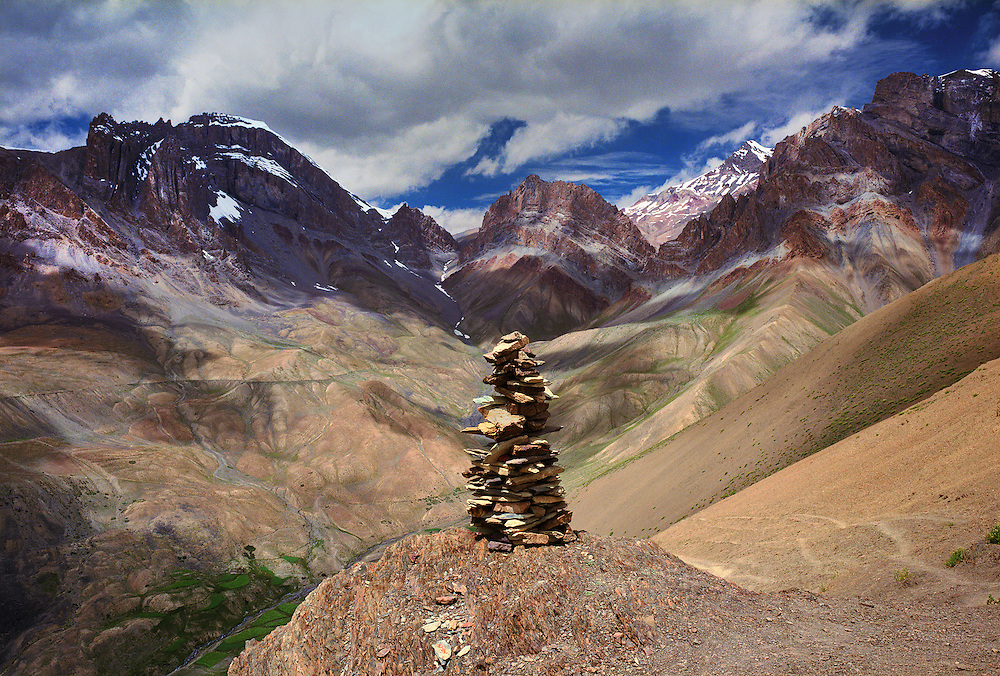 Rock cairn navigational trail marker. The Zanskar region, Ladakh, India. The Darcha - Lamayuru trek route.