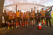 Hull City celebrate out side in front of fans gathered outside the KCOM stadium as they win the league 1 title during the EFL Sky Bet League 1 match between Hull City and Wigan Athletic at the KCOM Stadium, Kingston upon Hull, England on 1 May 2021.