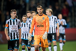 (L-R) Tim Breukers of Heracles Almelo, goalkeeper Bram Castro of Heracles Almelo during the Dutch Eredivisie match between Heracles Almelo and Feyenoord Rotterdam at Polman stadium on September 09, 2017 in Almelo, The Netherlands