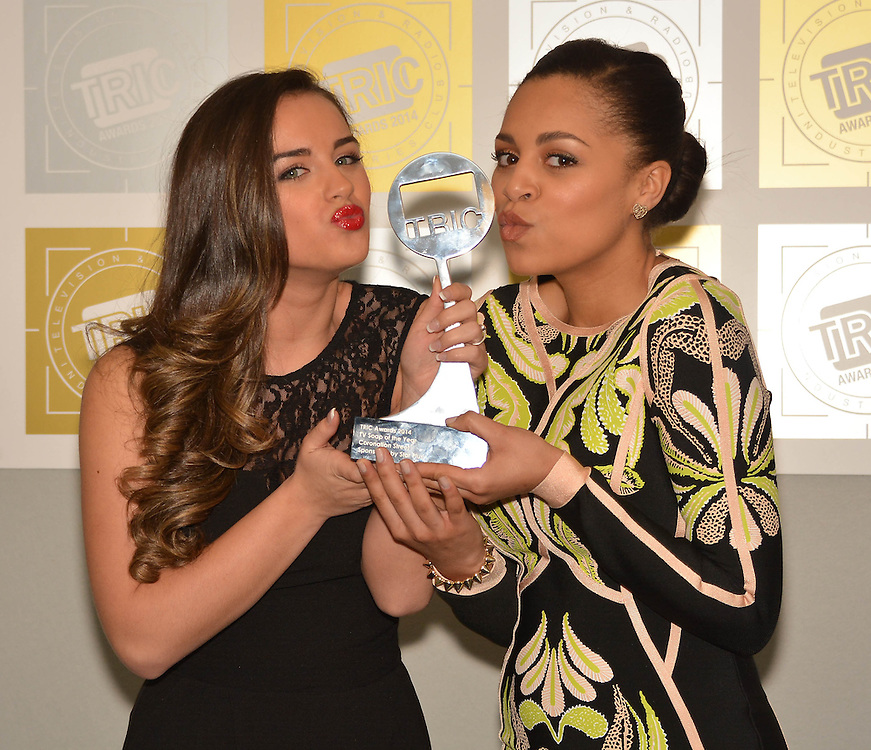 TRIC Awards  held at the Grosvenor House Hotel London <br /> Tv Soap of the Year coronation street <br /> Georgia may foote and Tisha Merry <br /> Pix Dave Nelson