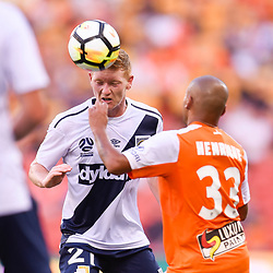 BRISBANE, AUSTRALIA - MARCH 31: Kye Rowles of the Mariners heads the ball during the Round 25 Hyundai A-League match between Brisbane Roar and Central Coast Mariners on March 31, 2018 in Brisbane, Australia. (Photo by Patrick Kearney / Brisbane Roar FC)