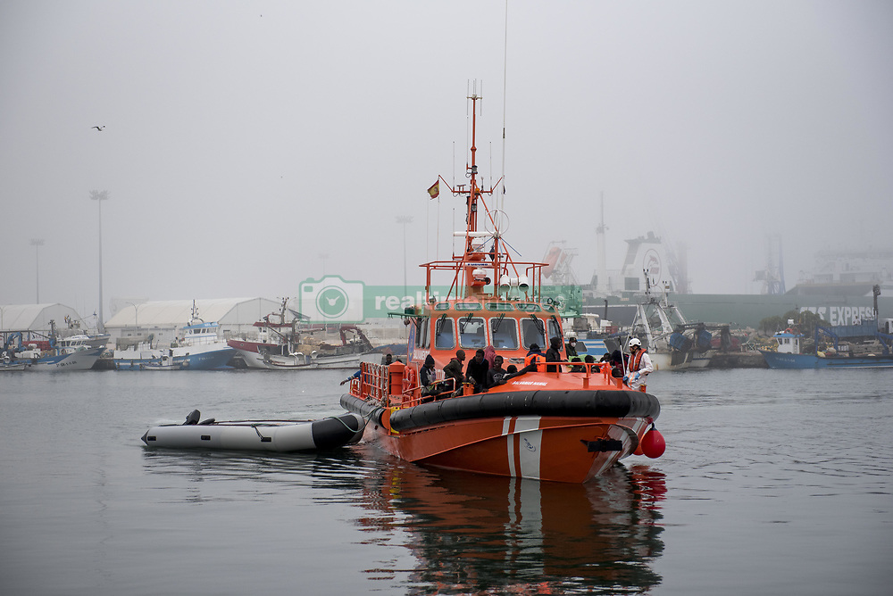 June 15, 2018 - Motril, Granada, Spain - The boat carrying migrants seen arriving at Motril Port. 45 men and 8 women have been rescued from a dinghy and brought at Motril port. Today June 15, Spanish Maritime Rescue Safety have rescued 211 people in the Alboran Sea from five dinghies and also 471 people from 47 dinghies have been rescued in El Estrecho, 4 people have died. (Credit Image: © Carlos Gil/SOPA Images via ZUMA Wire)