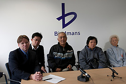 © licensed to London News Pictures. London, UK 07/05/2012. Batang Kali press conference takes place at Bindmans Office before the official hearing tomorrow for the massacre in Malaysian village in 1948 by British Soldiers. (Left to right) John Halford, his translator and survivors from Batang Kali massacre: Loh Ah Choi, Chong Koon Ying, Lim Ah Yin. Photo credit: Tolga Akmen/LNP