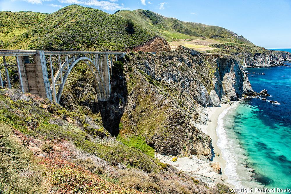 Bixby Creek Bridge, Monterey, California. Coast.