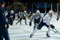 KELOWNA, BC - SEPTEMBER 23:  Leon Draisaitl #29, Oscar Klefbom #77 and Evan Bouchard #75 of the Edmonton Oilers warm up on the ice prior to practice at Prospera Place on September 23, 2019 in Kelowna, Canada. (Photo by Marissa Baecker/Shoot the Breeze)