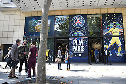 An outside view of the Paris Saint-Germain football club's store on the Champs-Elysees avenue on August 3, 2017 in Paris, France. Neymar is set to complete a world-record move to Paris Saint-Germain worth around €402m in fees and wages after telling Barcelona he is leaving. PSG have given the go‑ahead for the forward's buyout fee of €222m to be handed over at the Spanish football federation offices, the protocol required to clear the transfer. Neymar, who flew to Porto on Wednesday for his medical, is expected to be presented in Paris this week. Photo by Eliot Blondet/ABACAPRESS.COM