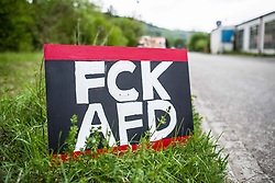 "May 4, 2019 - Greding, Bavaria, Germany - Die right-extremist flank of the Alternative for Germany party known as ""der Fluegel"" (""The Wing"") appeared in Greding, near Nuremburg in Bavaria.  Appearing with the group was Bjoern Hoecke, Benjamin Nolte, Bernhard Zimniok and Christina Baum.  Due to connections to the right-extremist spectrum and efforts against democracy, the Office for the Protection of the Constitution (Verfassungsschutz, Secret Service) escalated the group to preliminary monitoring ahead of possible formal monitoring. Participants, including right-radical Dubravko Mandic of the AfD in Freiburg aggressively approached and harassed journalists on the scene, with him taking the phone away of one.  Later, after calls to take the cameras from journalists, two attacked a journalist.  Mandic has posted about ""the great exchange"" referencing such theories by white supremacists who committed shootings, such as in Christ Church. (Credit Image: © Sachelle Babbar/ZUMA Wire)"