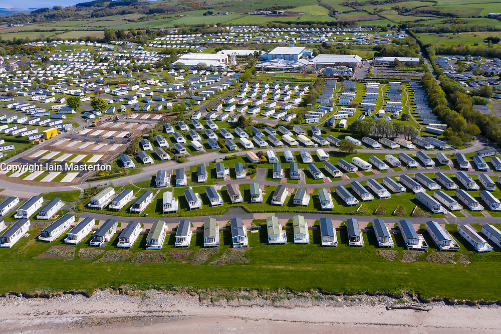 Aerial view of caravans at Craig Tara Caravan Holiday Park, south of Ayr. Park is closed during coronavirus pandemic.