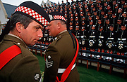 Officers of the Argyll and Sutherland Highlanders, a Scots regiment of the British Army rehearse the official portrait with Queen Elizabeth the next day, on 27th June 1996, at Redford Barracks, Edinburgh, Scotland.