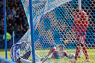 Sheffield Wednesday striker Lucas Joao (18) in back of the net after Cardiff City defender, Lee Peltier (2) own goal during the Sky Bet Championship match between Sheffield Wednesday and Cardiff City at Hillsborough, Sheffield, England on 30 April 2016. Photo by Phil Duncan.