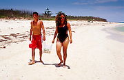 23 JULY 2002 - TRINIDAD, SANCTI SPIRITUS, CUBA: Cubans at Playa Ancon beach near the colonial city of Trinidad, province of Sancti Spiritus, Cuba, July 23, 2002. Trinidad is one of the oldest cities in Cuba and was founded in 1514..PHOTO BY JACK KURTZ