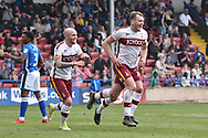 Bradford City forward Charlie Wyke (9)  scores 1-1 goal celebration during the EFL Sky Bet League 1 match between Rochdale and Bradford City at Spotland, Rochdale, England on 21 April 2018. Picture by Mark Pollitt.