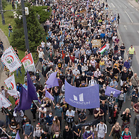 People demonstrate their support of free press after 60 journalists of leading news website Index.hu filed their resignation to protest against government pressure on their news outlet in Budapest, Hungary on July 24, 2020. ATTILA VOLGYI