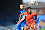 Aaron Wilbraham and Sido Jombati during the EFL Sky Bet League 1 match between Rochdale and Wycombe Wanderers at Spotland, Rochdale, England on 19 April 2019.