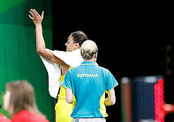 Australia's Elizabeth Cambage is ejected for a foul in the Women's Gold Medal Game at the Gold Coast Convention and Exhibition Centre during day ten of the 2018 Commonwealth Games in the Gold Coast, Australia.