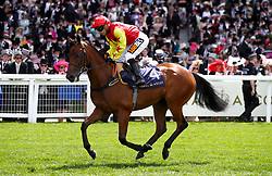 Daphinia ridden by Jockey Silvestre de Sousa goes to post for the Queen Mary Stakes