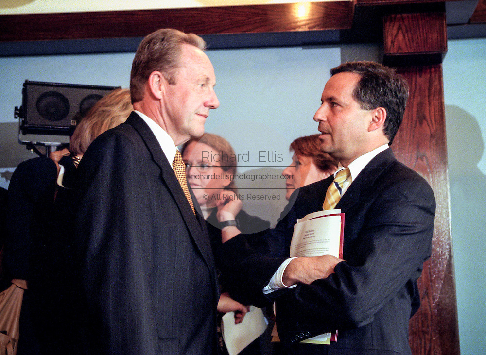 New York Attorney General Dennis Vacco (right) with Pennsylvania Attorney General Mike Fisher following the announced $206 billion settlement with tobacco companies November 16, 1998 in Washington, DC.