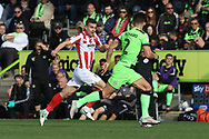 Kevin Dawson and Liam Shephard during the EFL Sky Bet League 2 match between Forest Green Rovers and Cheltenham Town at the New Lawn, Forest Green, United Kingdom on 20 October 2018.
