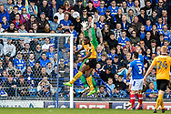 Portsmouth Goalkeeper, David Forde (1) comes for a cross during the EFL Sky Bet League 2 match between Portsmouth and Cambridge United at Fratton Park, Portsmouth, England on 22 April 2017. Photo by Adam Rivers.