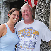 Audrey Holloman, left, and Kenny Baldwin pose for a photo Thursday August 7, 2014 during The Shrip-A-Roo at Buddy's Crab House & Oyster Bar in Wrightsville Beach, N.C.  (Jason A. Frizzelle)